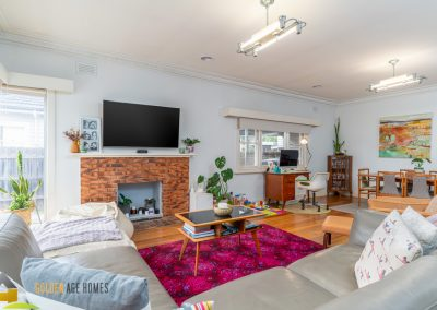 Generous Living/Dining Room with hardwood floors